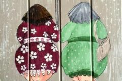 dikke dames in de regen (rustige kleuren)