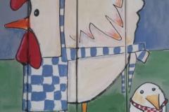 kip met schort