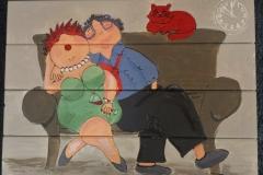 dikke dame op de bank(met kat)